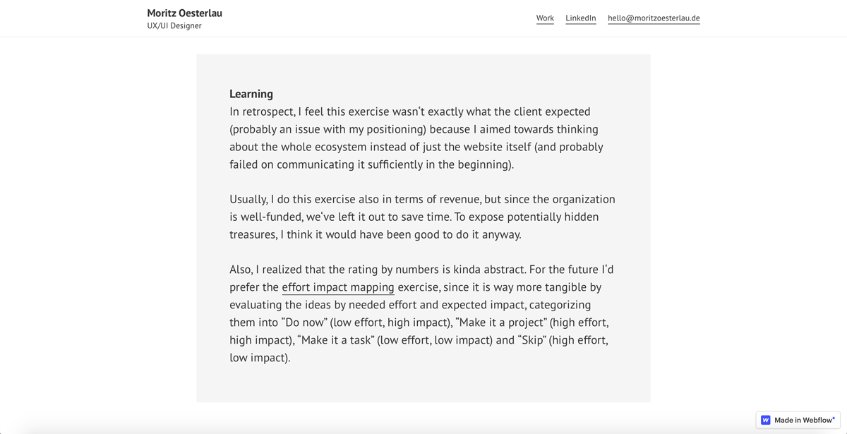 Oesterlau's learnings included in his UX portfolio (a screengrab)