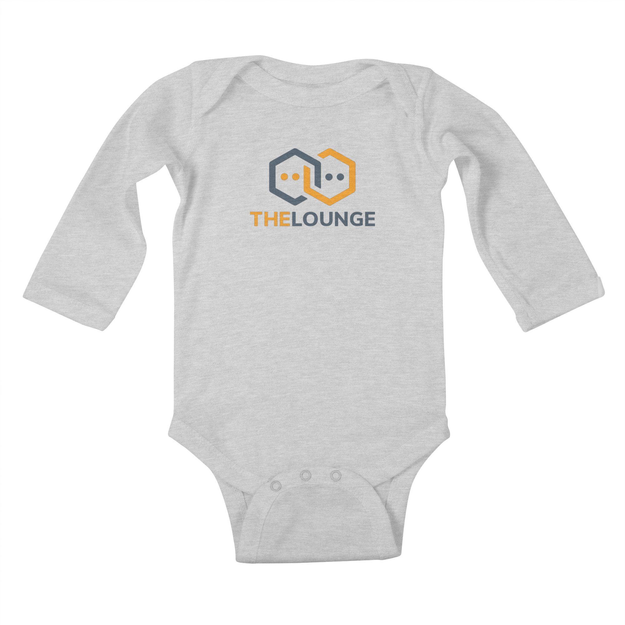 Grey baby bodysuit with The Lounge logo