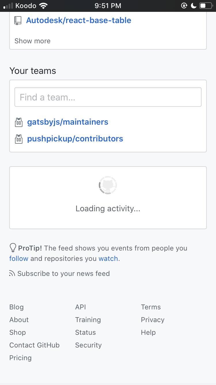 MS Edge on iOS not loading GitHub feed