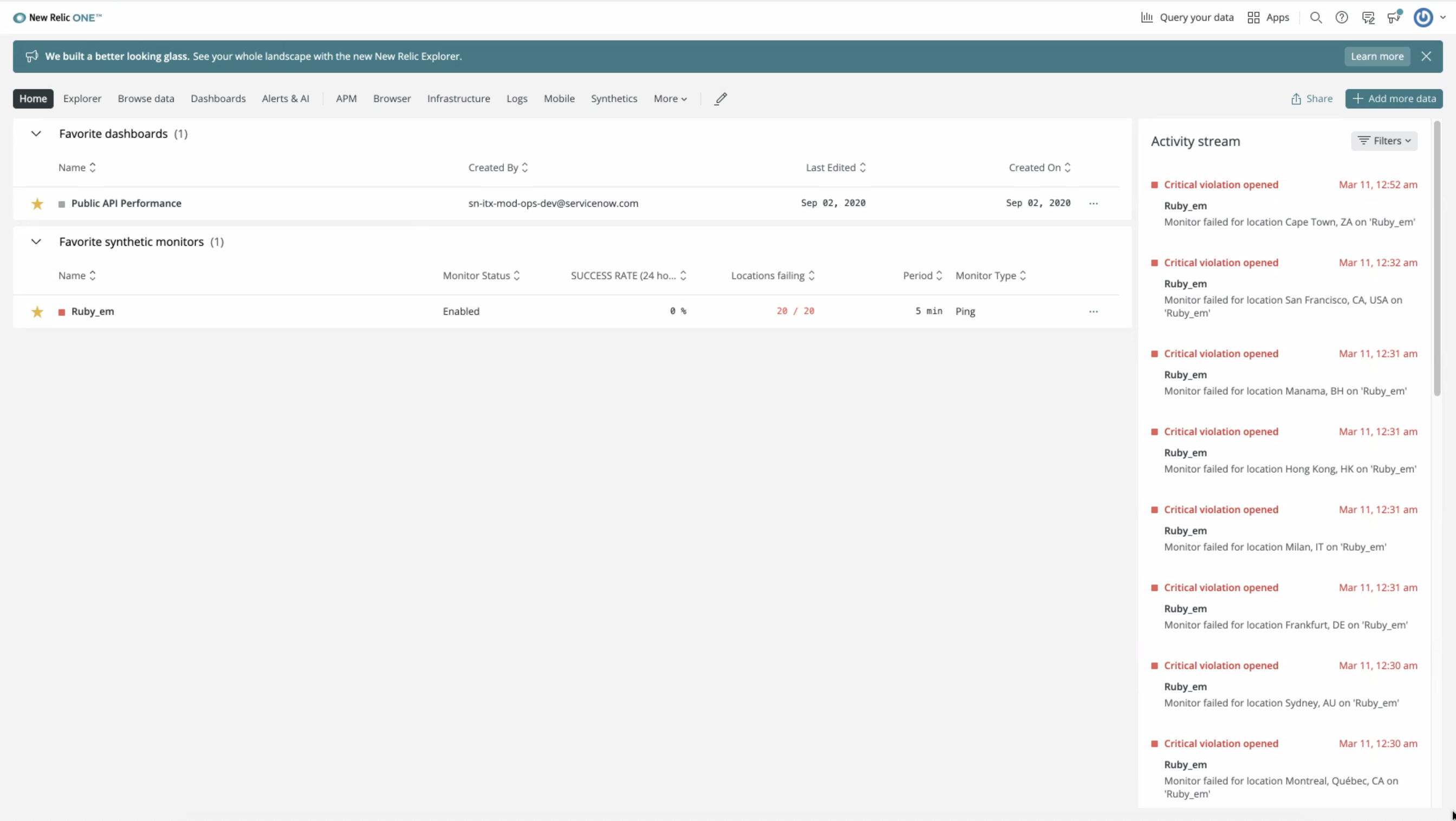 The New Relic homepage.