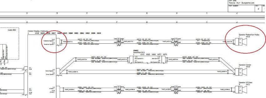 Leaked Tesla Model S schematics from 2016 showing the wiring diagrams for a pedestrian noise speaker, from Electrek