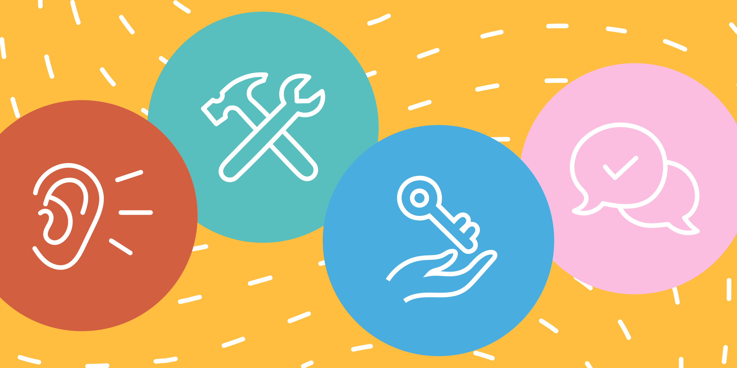 Three colorful circles against an orange background. The circles contain a listening ear, a hammer and wrench, a hand with a key, and two speech bubbles, respectively.