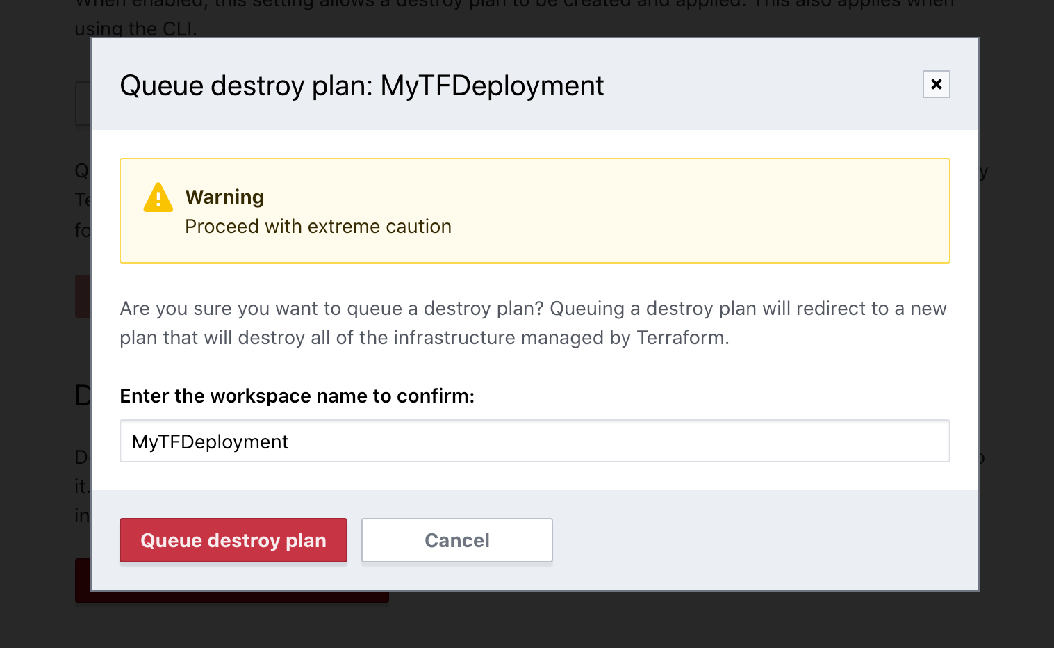 Enter workspace name to confirm destroy plan