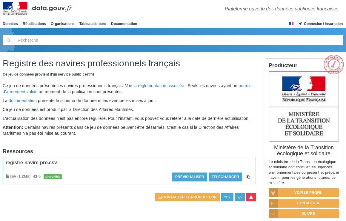 Ouverture des données du registre des navires de la flotte française