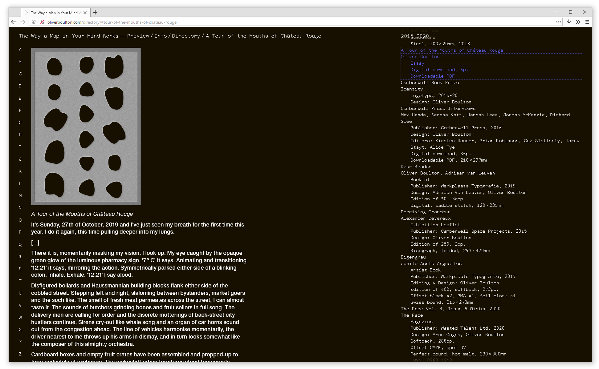 Screenshot of web browser showing the 'Information' page on oliverboulton.com. Several paragraphs of text about Oliver are visible text to a project timeline and a colophon.