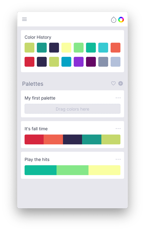 Swach in light mode showing the palettes screen
