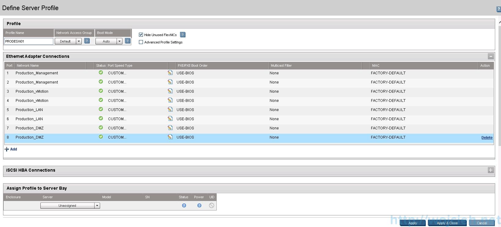 HP Virtual Connect Module Configuration - Server Profiles 3