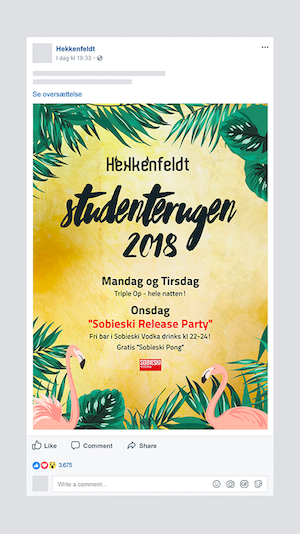 Facebook post til Hekkenfeldt