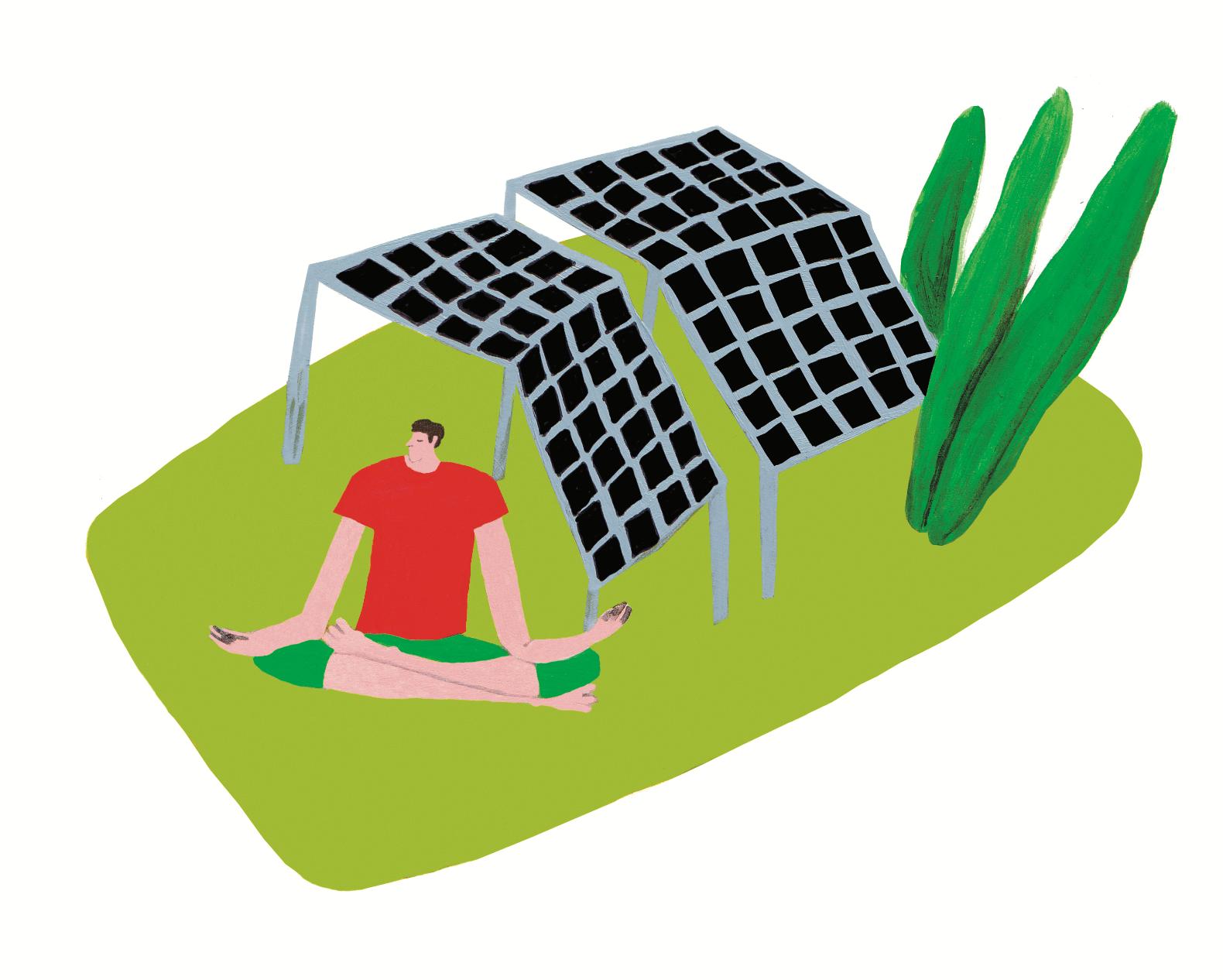 Solaranlagen auf einer Wiese und ein Mann der sich um eine bessere Wirtschaft Gedanken macht