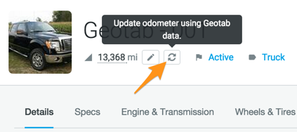 sync geotab gps odometer reading