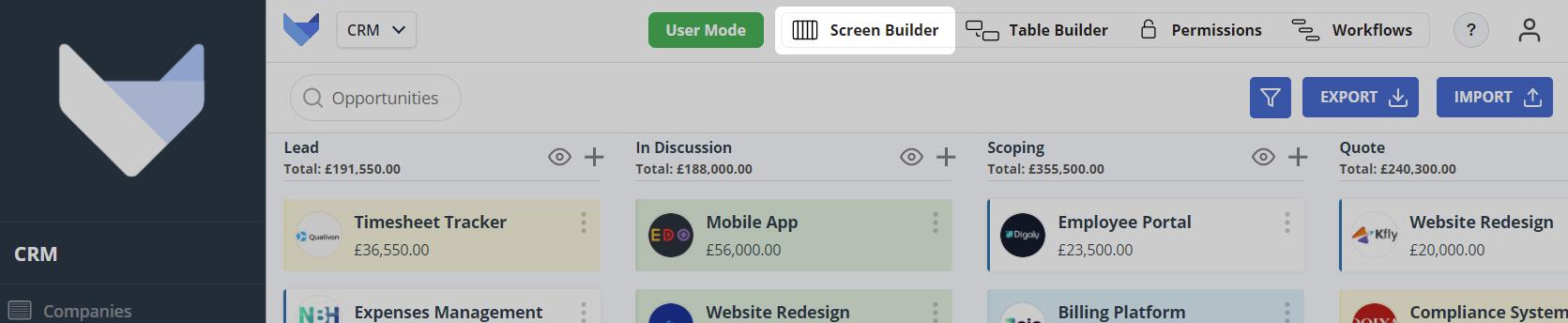 Screen Builder Tab