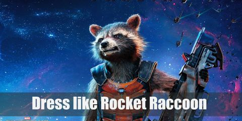Rocket Raccoon is also dressed up in light protective gear and can mostly be seen with a weapon in his hand.