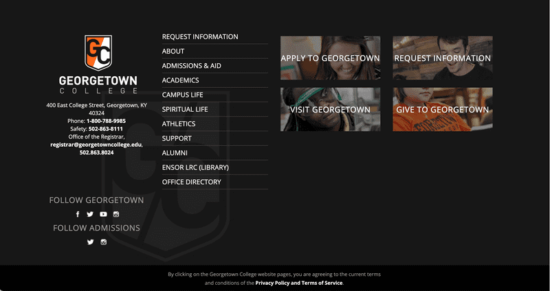Footer designed with Georgetown's branding