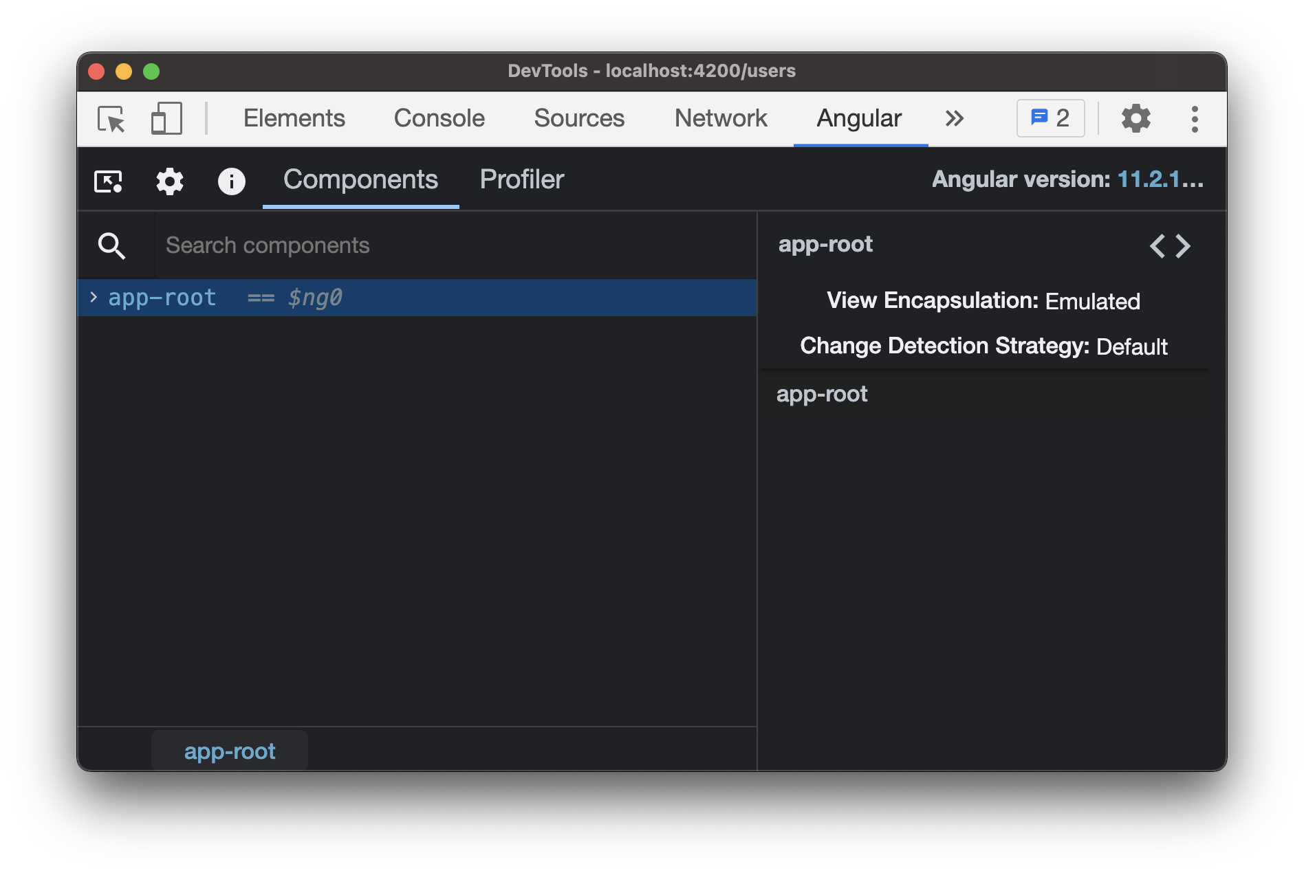 Angular dev tools showing the root of the application