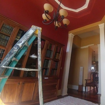 red room with ladder