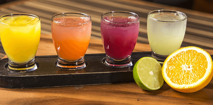 Colorful drinks with fruit