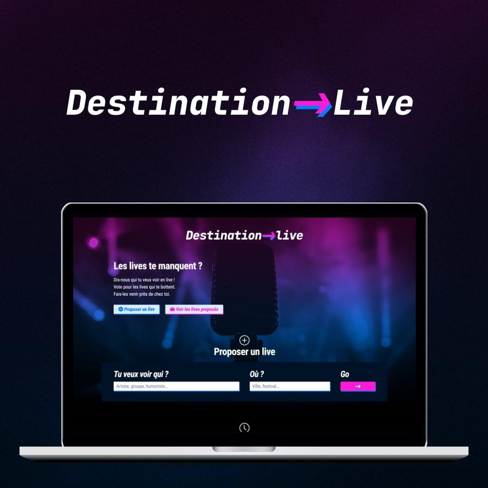 Capture d'écran du site Destination live