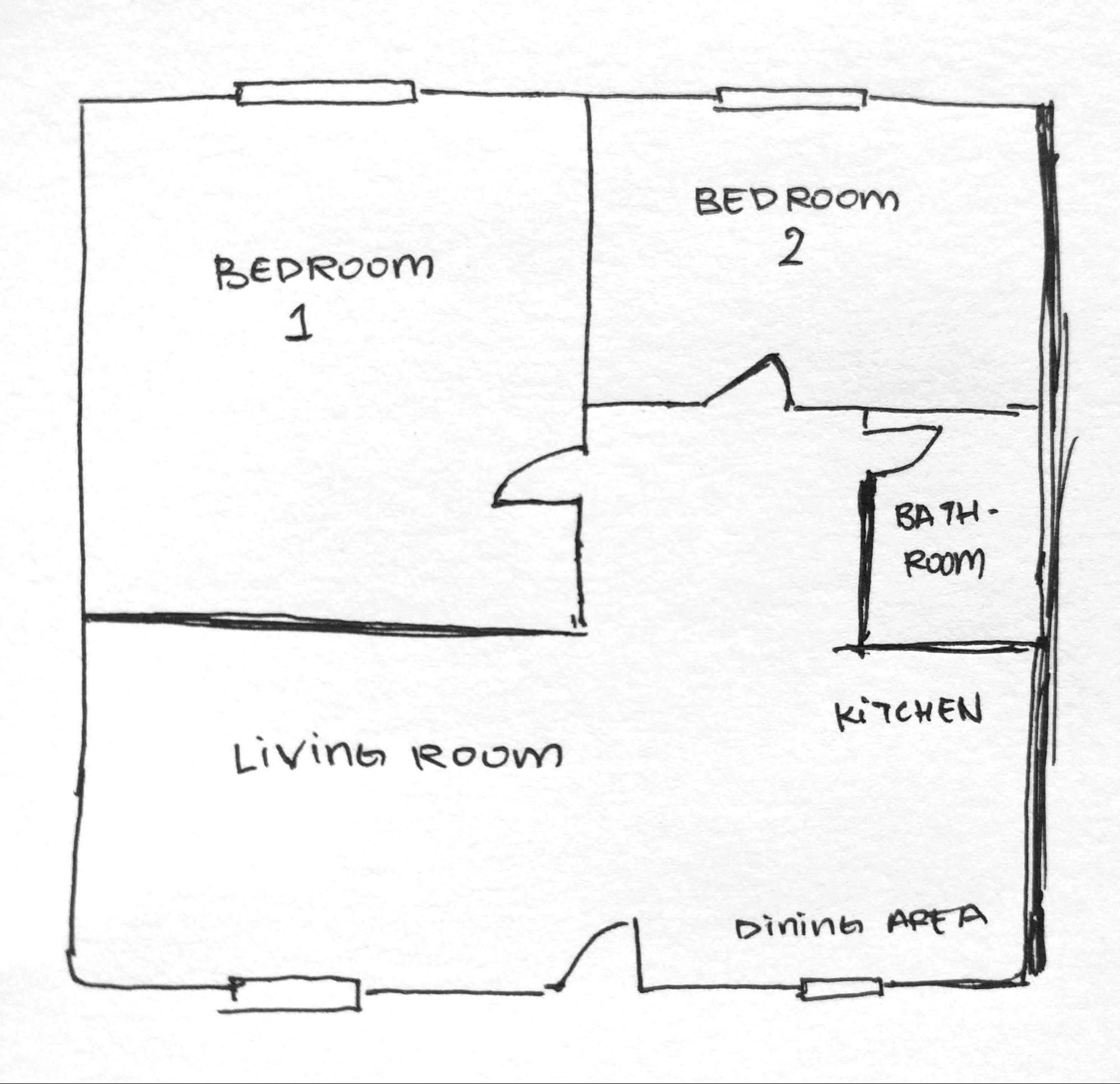 sketched floorplan