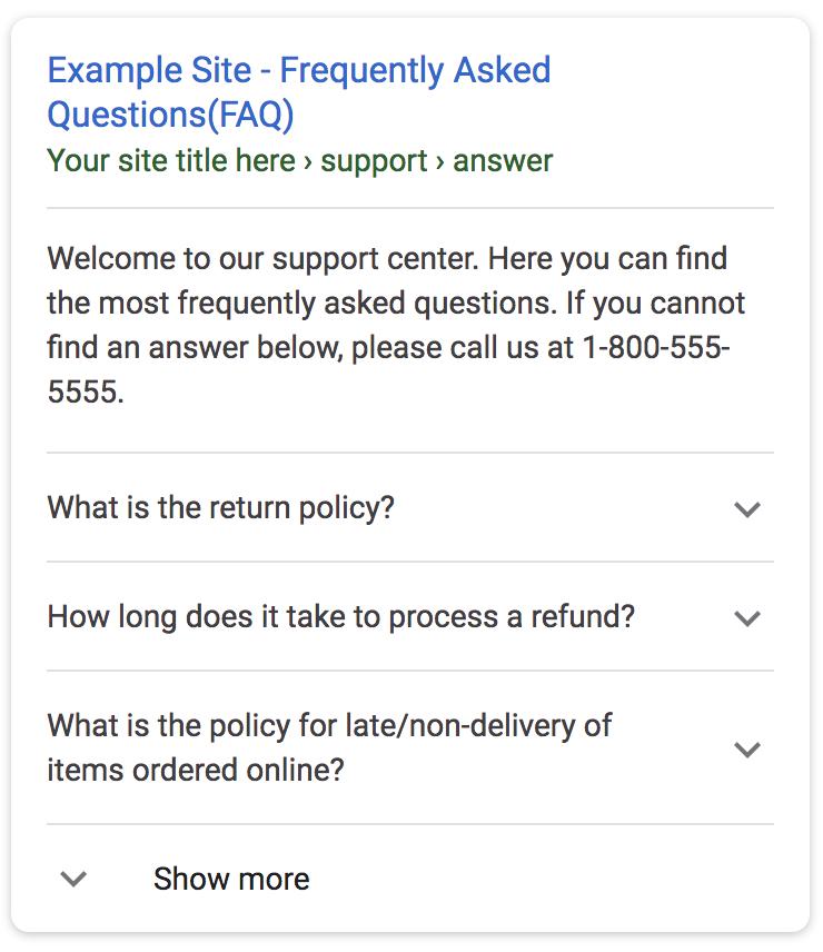 FAQ Schema markup on a Google SERP.