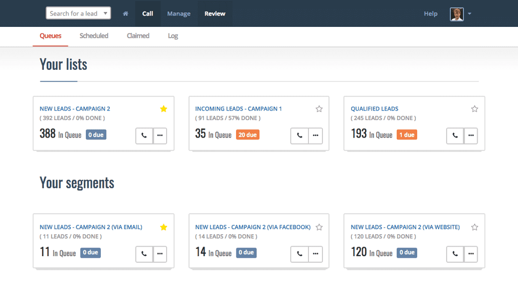 Personalised campaign dashboard in Myphoner