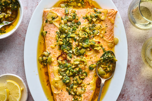 Roasted Citrus Salmon With Green Olive Salsa Verde