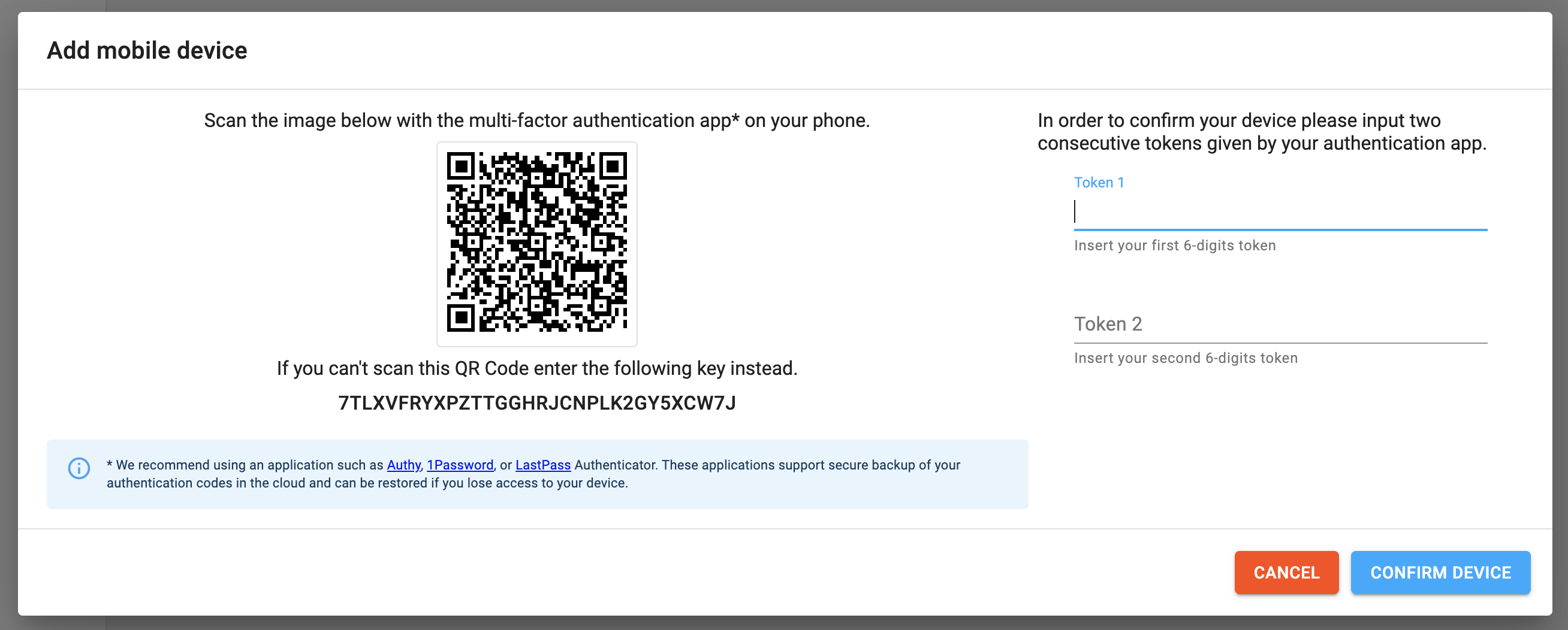 qr code scan and confirmation tokens