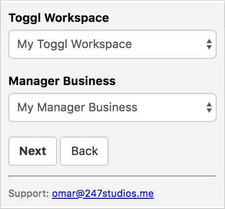 Screenshot of Toggl To Manager.io extension. Form that asks you to select a Toggl workspace and a Manager Business.