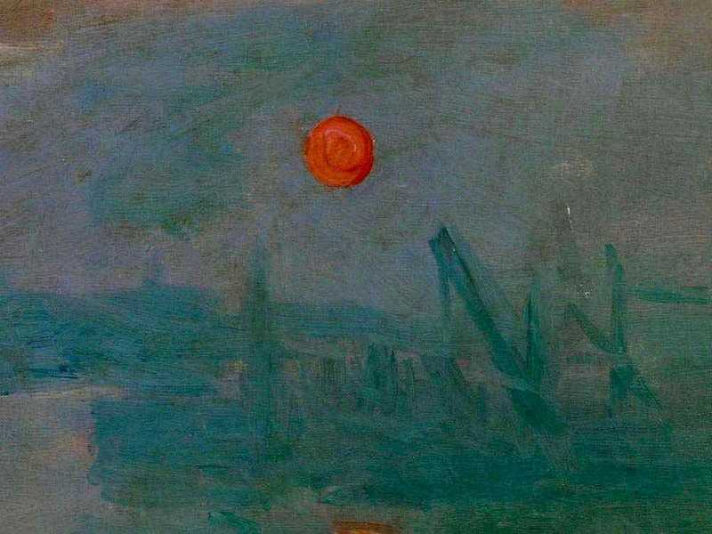 The sun is the focal point of Monet's Impression Sunrise