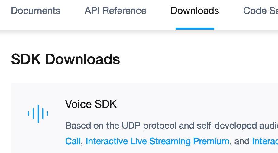 Downloadseite des Agora SDKs