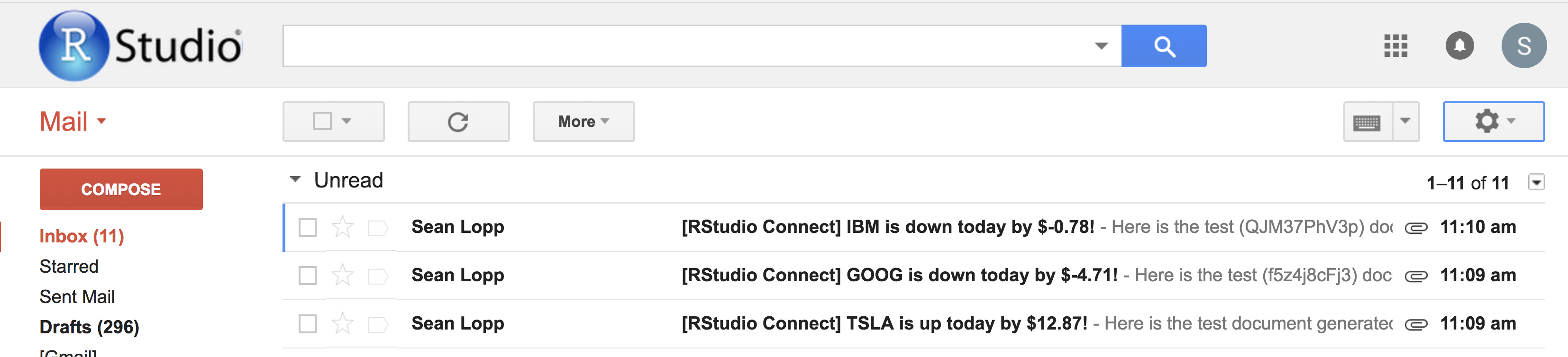 Inbox showing emails from Connect with custom subject lines