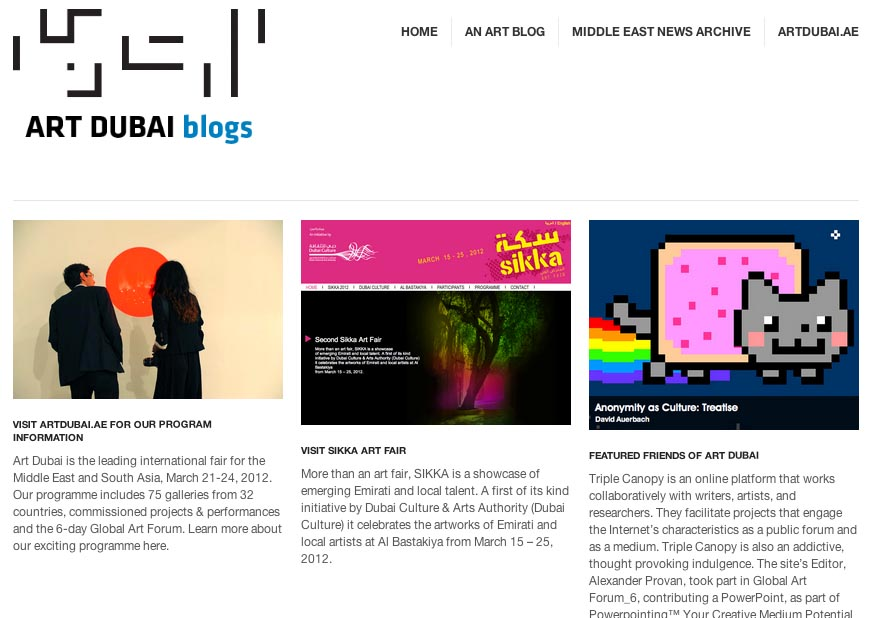 Screenshot of the Art Dubai blog