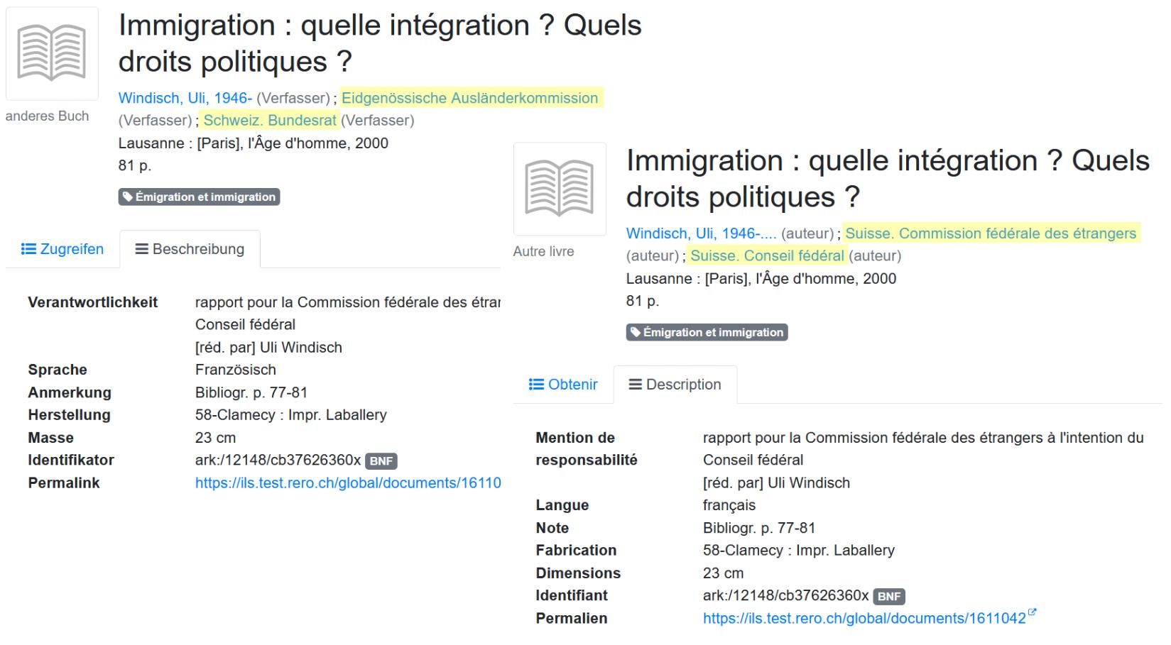 Vue détaillé d'un document, en allemand et en français