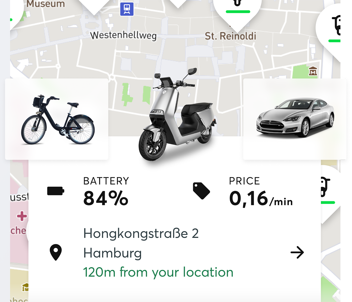 Zoomed screenshot of the Wunder app showing moped baterry status, current price per minute, and current address.