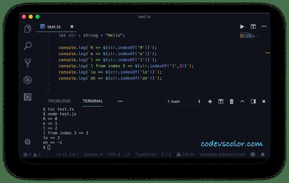 Typescript indexof character string