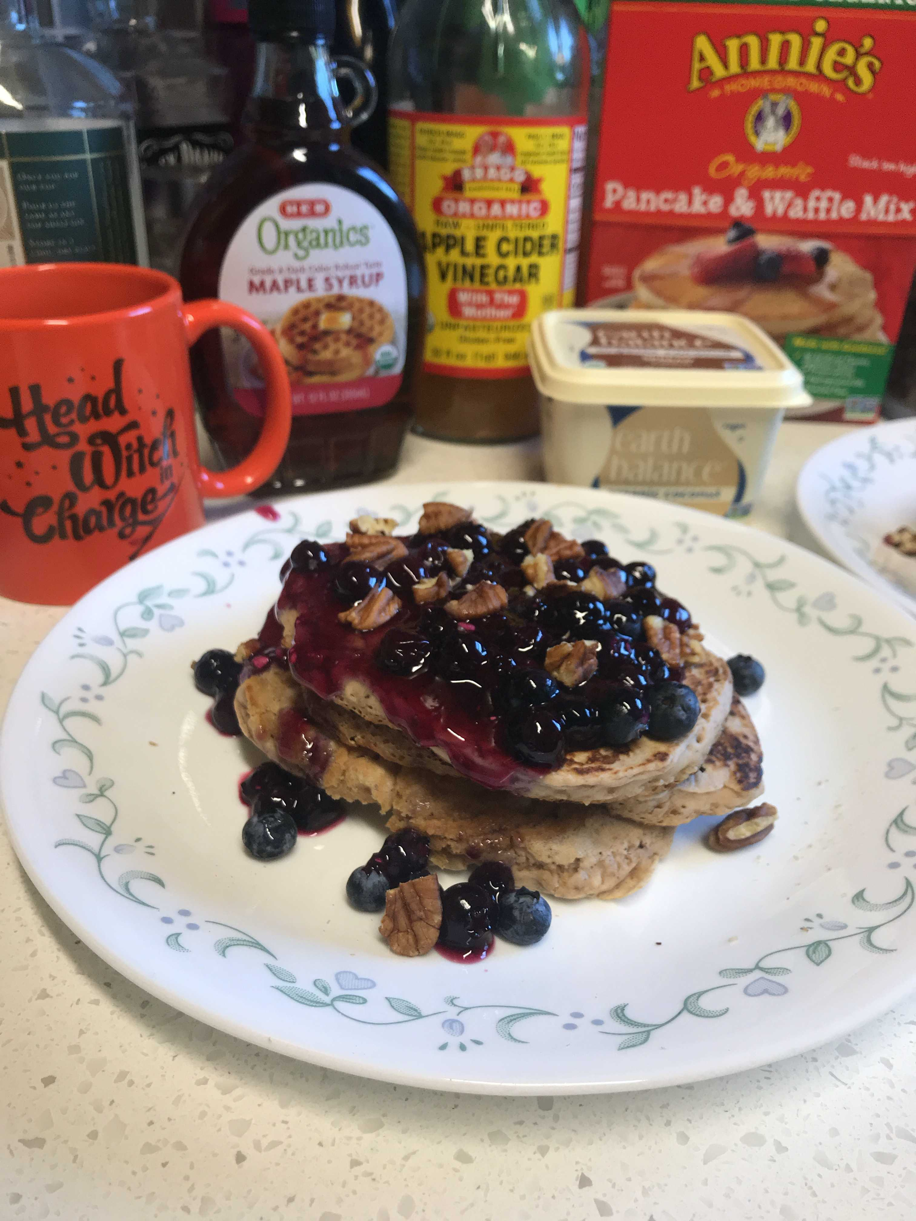 A particularly satisfying vegan blueberry pancake brunch from 2020
