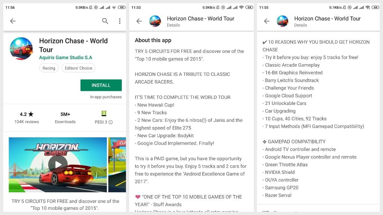 Game Horizon Chase description on Google Play