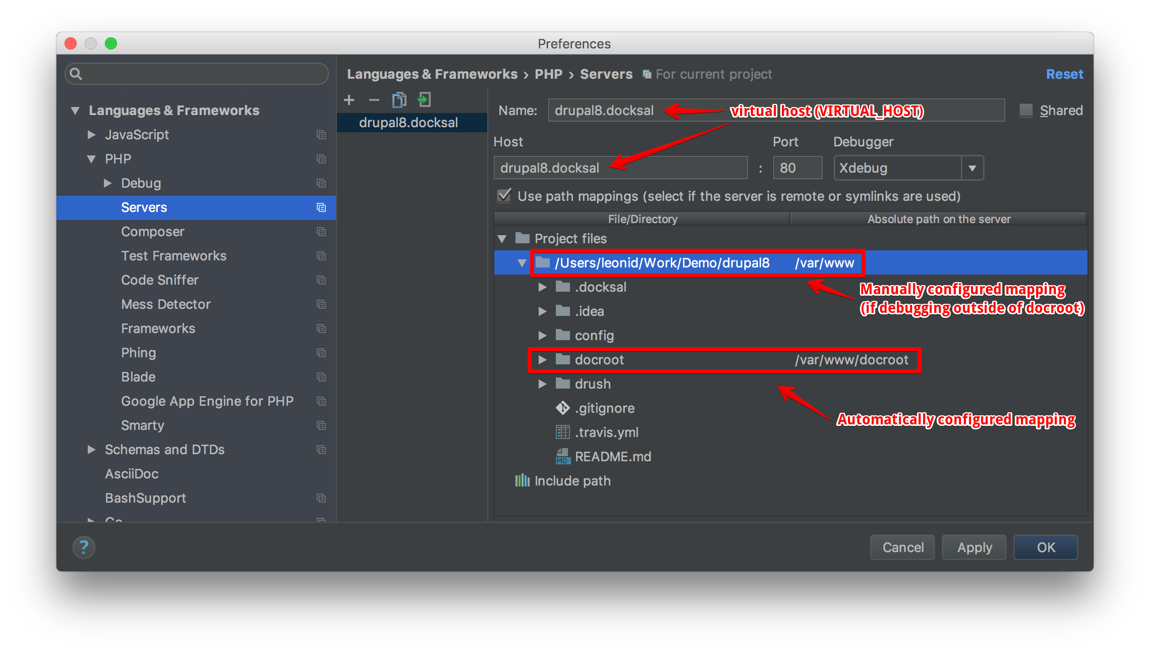 PHPStorm xdebug manual mapping