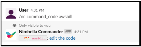 command to edit code that can display aws billing info in slack