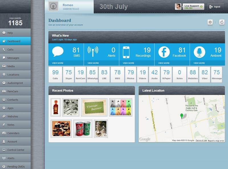 panel dashboard monitor aplikasi penyadap