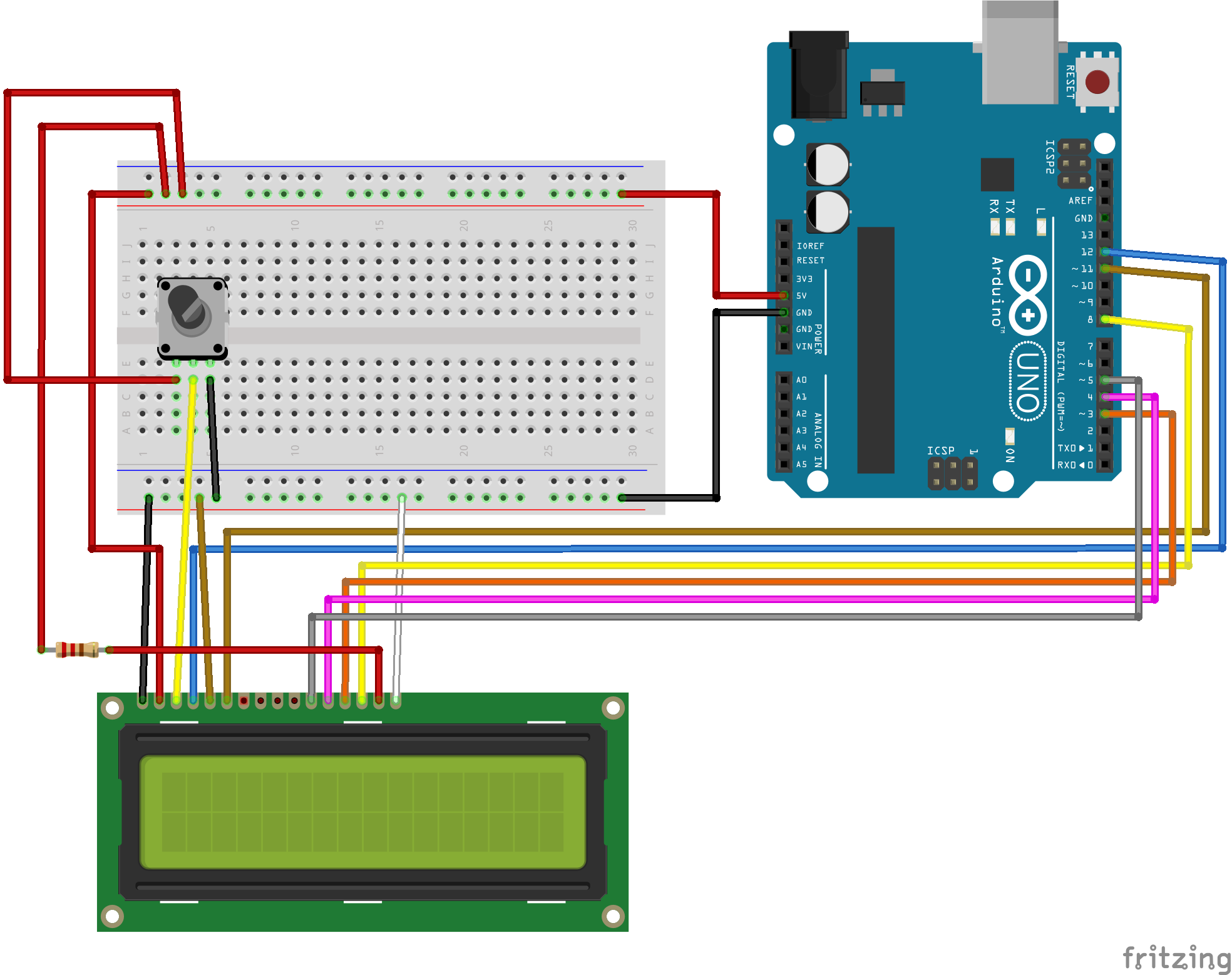 Wiring the LCD with Arduino