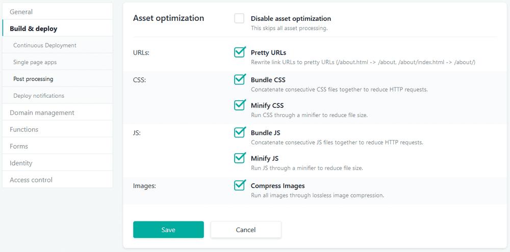 netlify configuration