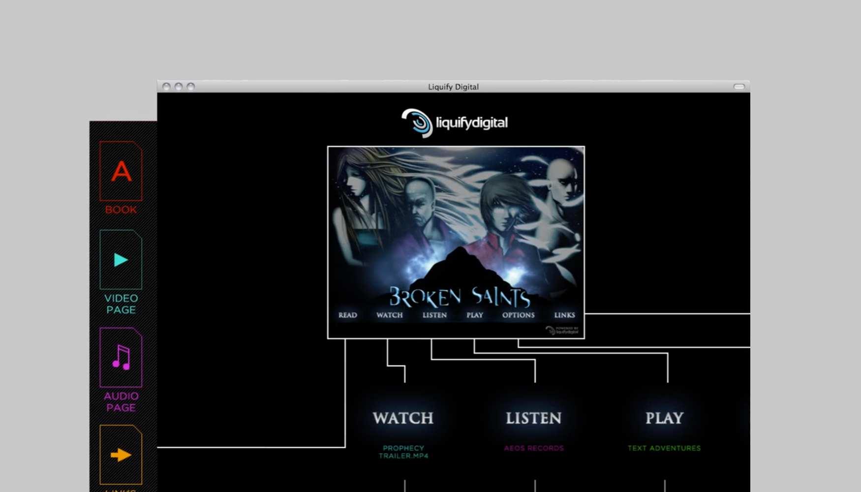 The main screen of the Liquify Digital app.
