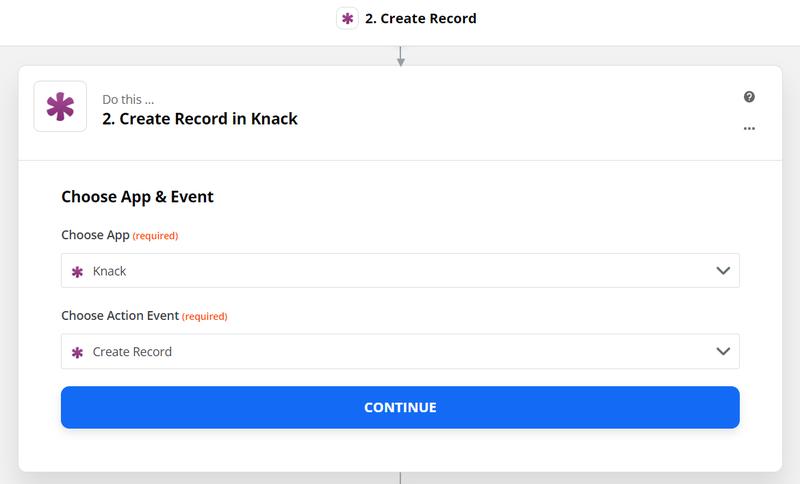 create record in Knack database