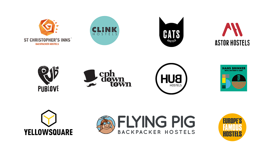 Logos of the 15 hostels brands, namely: St Christopher's Inns, Wombat's Hostel, Cats Hostels, Astor Hostels, Pub Love, Meininger Hotels, Yellow Square, Abraham Hostels, Clink Hostels, Copenhagen Downtown Hostel, Hans Brinker, and Europe's Famous Hostels