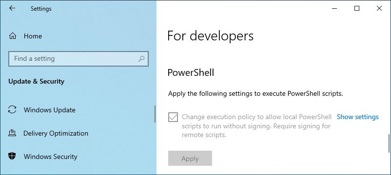 Applied settings to run ps script