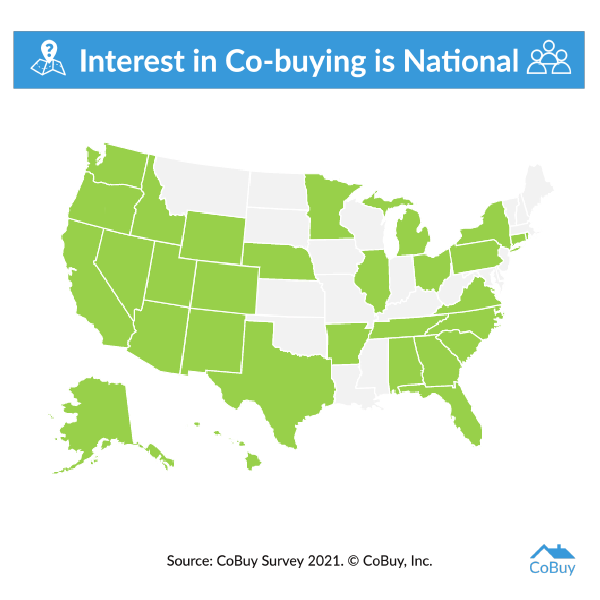 Map showing the states from which our CoBuy Survey registered interest in co-buying a home. Thirty states are highlighted.