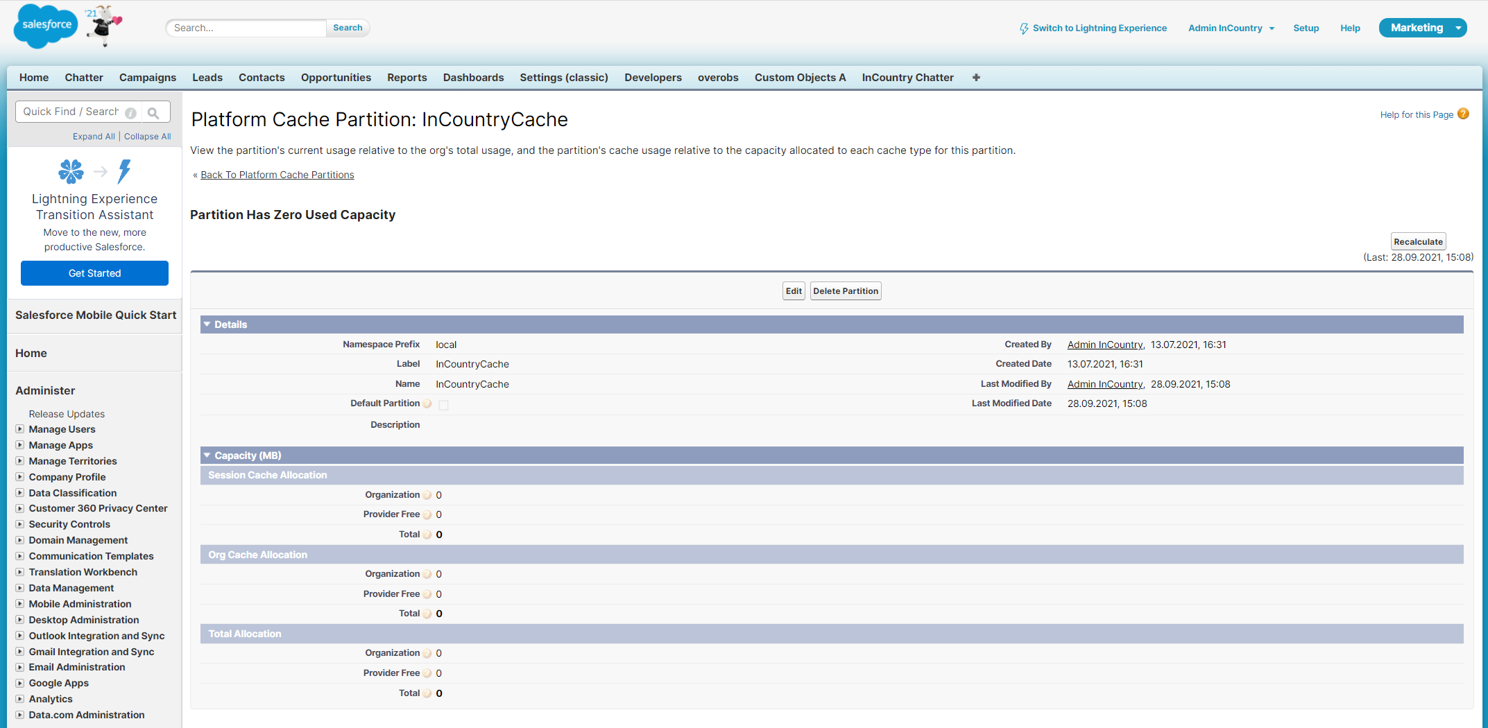 Platform Cache Partition - InCountry Cache