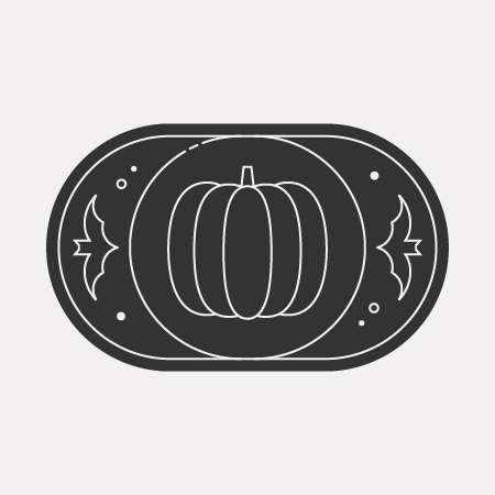 An icon with a pumpkin and two little bats fluttering nearby.