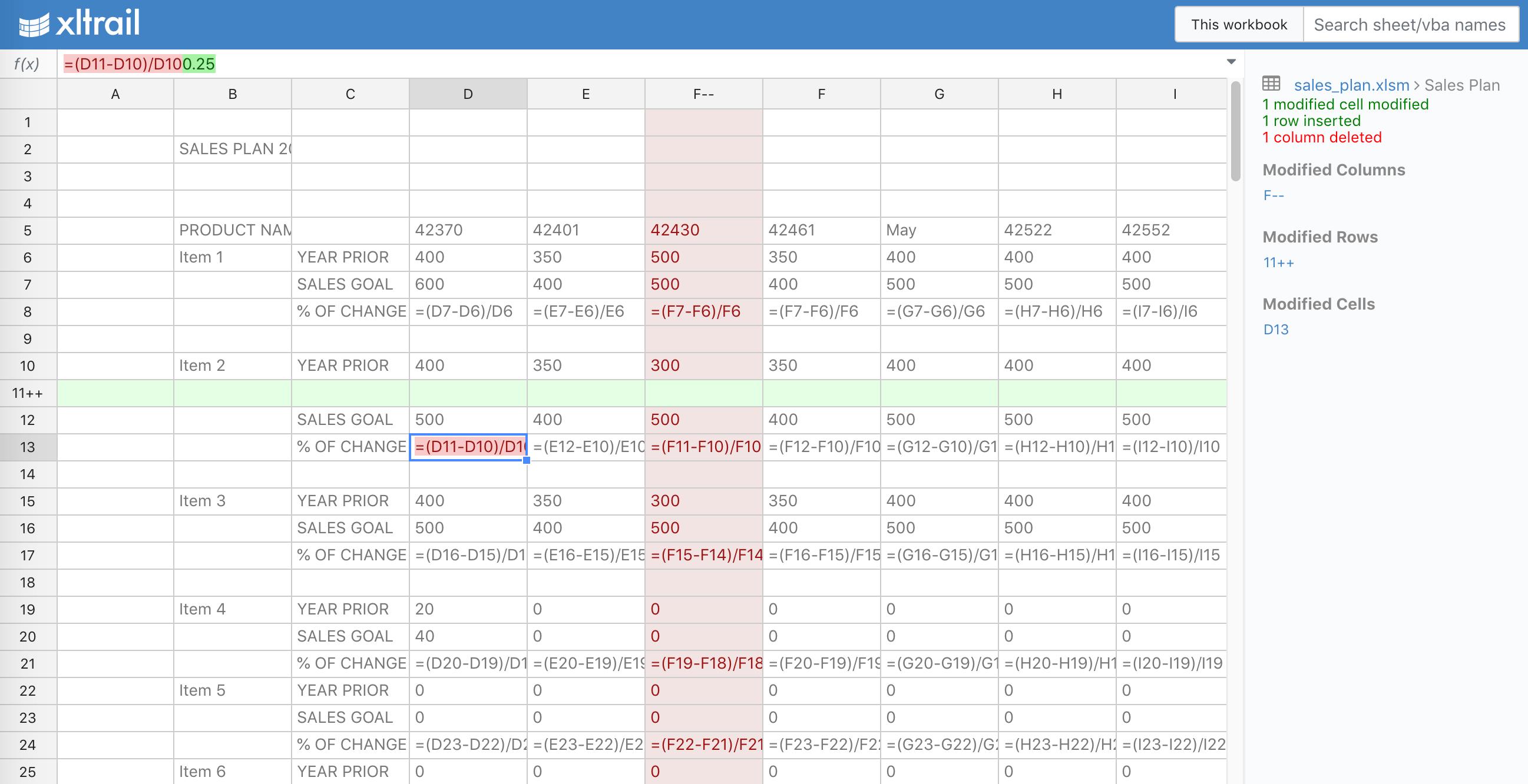 xltrail sheet comparison