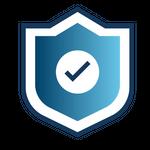 Ícone de escudo com um símbolo de check na frente, representando segurança